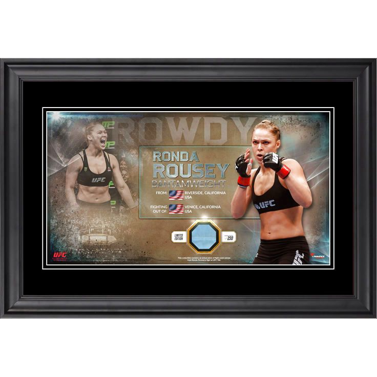 Rowdy Ronda Rousey Ultimate Fighting Championship Fanatics Authentic Framed Nickname Collage with Piece of Match-Used Canvas from UFC 190 - $79.99