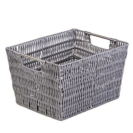 """Woven Large Storage Basket - Shelf Closet Organizer w/ Ample Space - Incredibly Versatile - Highly Durable Build - Easy to Clean - Attractive Design - 11"""" X 14.6"""" X 9"""" - Grey"""