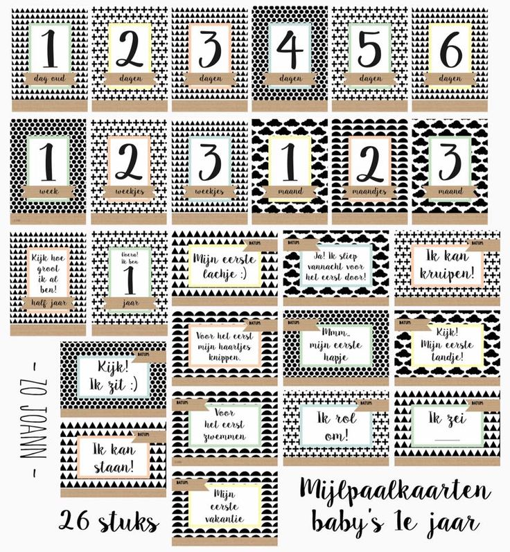 www.noez.nl  Mijlpaalkaarten, leg met deze 26 kaarten alle mijlpalen uit het eerste jaar van je kindje vast op unieke wijze.