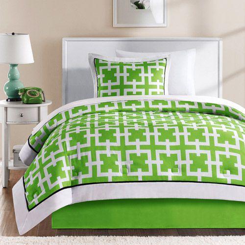 Green Encore Microfiber Bed in a Bag Bedding Set