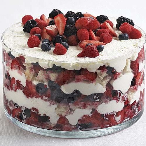 Use a mix of strawberries, blueberries, and raspberries to make this a red-white-and-blue-striped creation, or use any type of berry you like—just make sure you choose the ripest, tastiest ones available. The bread will soak up all their sweet juices. Summer Berry Trifle - FineCooking