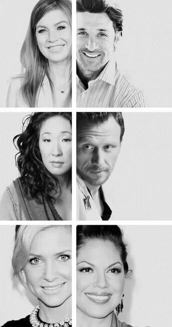 Cast of Grey's Anatomy. Ellen Pompeo, Patrick Dempsey, Sandra Oh, Kevin McKidd, Jessica Capshaw & Sara Ramirez.