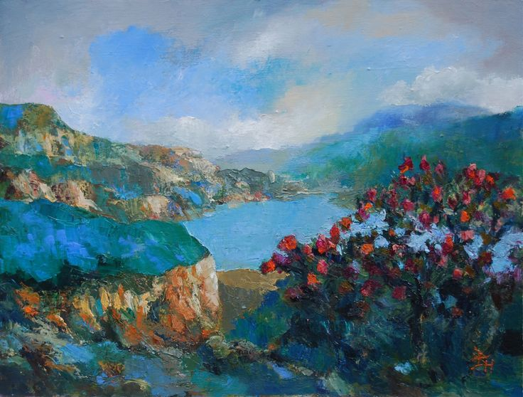 Postcard From Oputia: Distant Blue, Oil painting by Brian Hanson | Artfinder