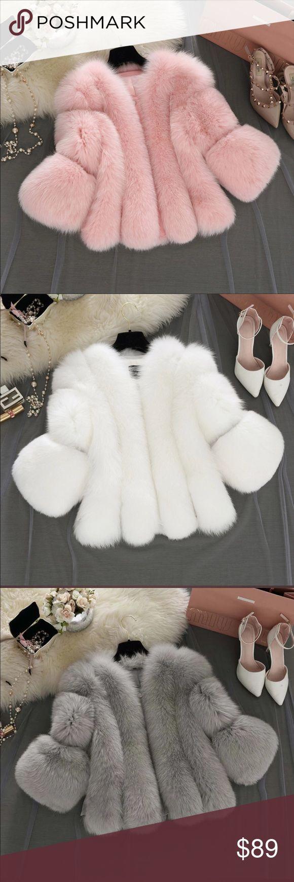Mink fur coat 2016 Autumn Winter Elegant Women Faux Fox Fur Coat Short Pink Fur Coat Female Faux Fur Jacket S-4XL Jackets & Coats Puffers
