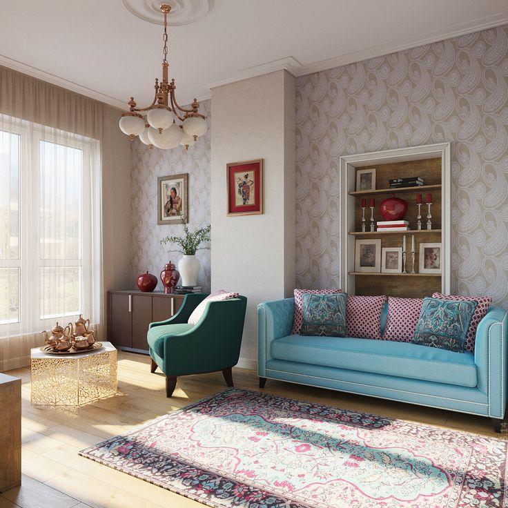"""Комната для пожилой мамы хозяина дома: классика с восточным оттенком. Яркий текстиль и обои с узором """"огурцы""""."""