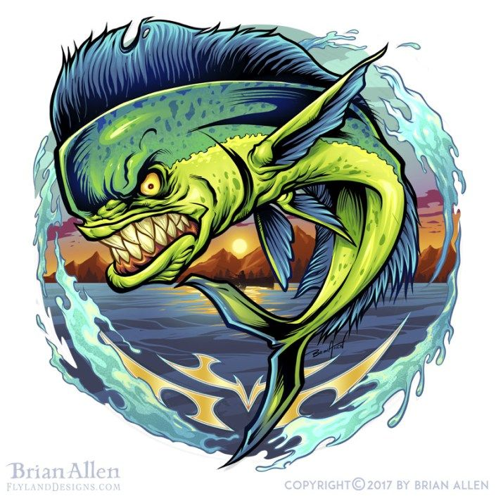 illustration light fish drawings mahi fish fish art