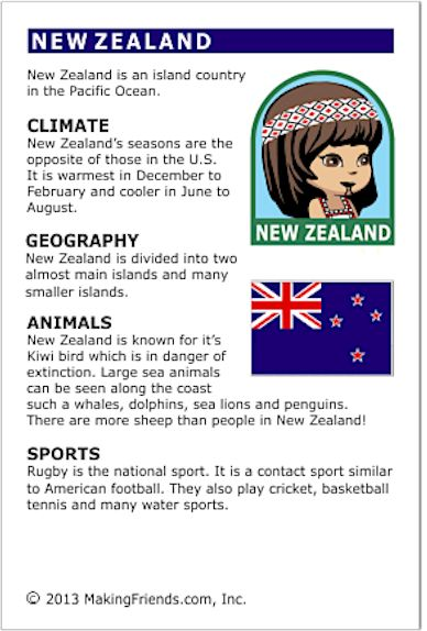Fact cards that fit perfectly in World Thinking Day passports (available at MakingFriends.com) or for making Girl Scout SWAPs if you chose to represent New Zealand. Free printables for your International celebration available at MakingFriends.com.