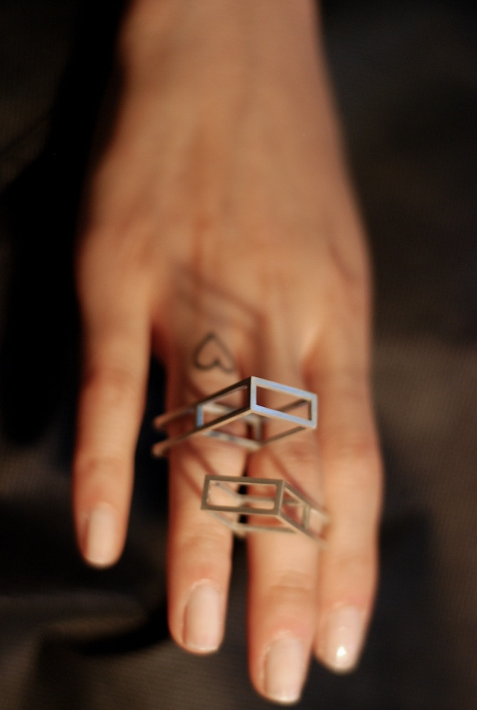 Sterling silver geometric rings