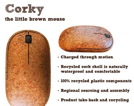 Corky, the self powered little brown mouse.  Corky requires no batteries like other wireless mouse devices, but makes its own kinetic energy.