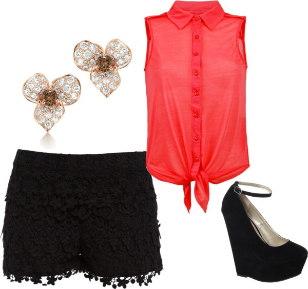 """""""Coral Sleeveless Button up With Black Lace Shorts"""" by kelliii821 on Polyvore"""