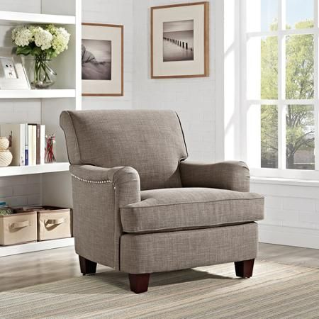 grayson linen rolled top club chair with nailheads gray walmartcom 199 living room