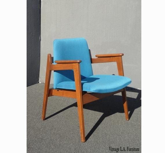 1950s Accent Chairs.Vintage Mid Century Modern Milo Baughman Style Blue Accent Chair In