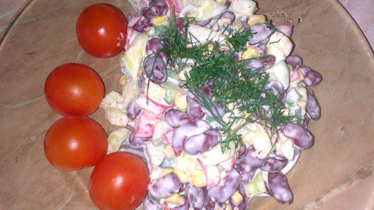 Fotorecept: Zeleninový šalát s fazuľou