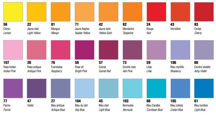 Nuancier couleurs peintures p bo d co pebeo id es cr ations loisirs cr atifs pinterest - Couleur lin nuancier ...