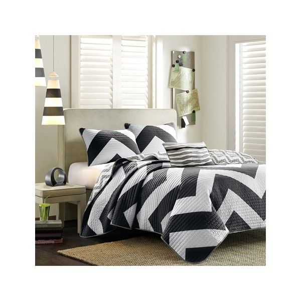 Mi Zone Libra Coverlet Set ($68) ❤ liked on Polyvore featuring home, bed & bath, bedding, quilts, black, king bedding, king sham, king size pillow shams, cal king coverlet and black and white pillow shams