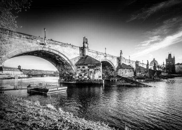 Morning at the bridge - Charles bridge in Prague