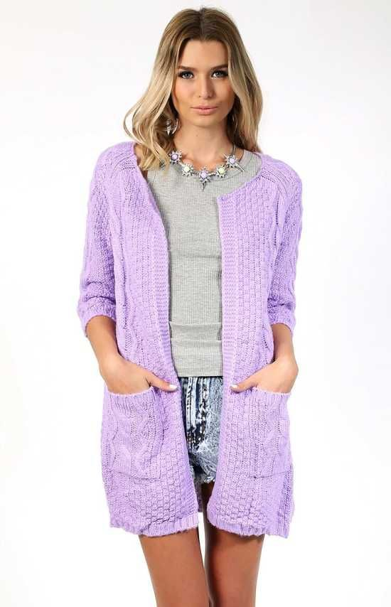 Purple Woolen Warm Comfort Zone Cardigan Chill out and look stylish in the Comfort Zone Cardi, made in a purple woolen/acrylic knit.  $85.00