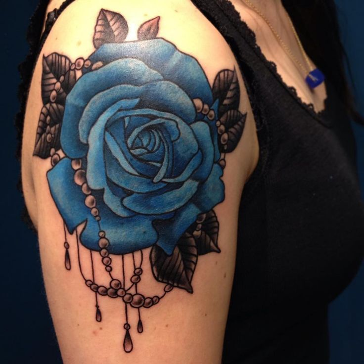 Blue Flower Tattoo Designs: 20 Shoulder Rose Tattoo Ideas For You To Try