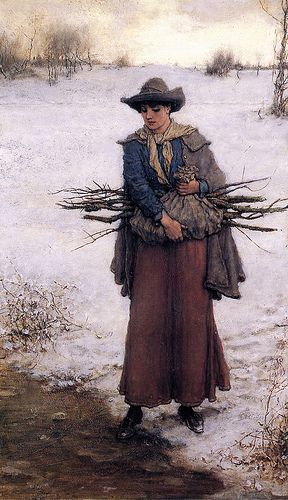"""Gathering Firewood in Winter"" by George Henry Boughton"
