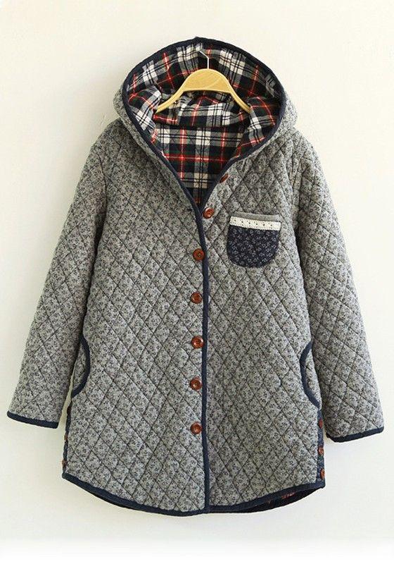 Grey Floral Pockets Cotton Blend Padded Coat