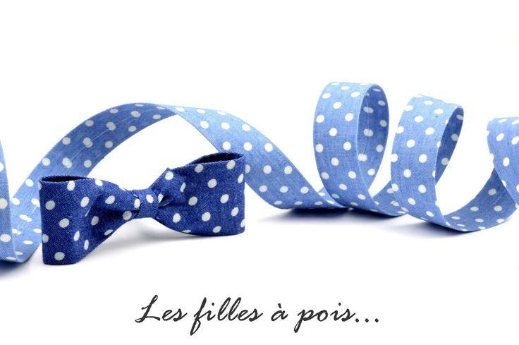 Ruban / lanière jeans bleu à pois blancs uni de 25mm : Rubans par les-filles-a-pois