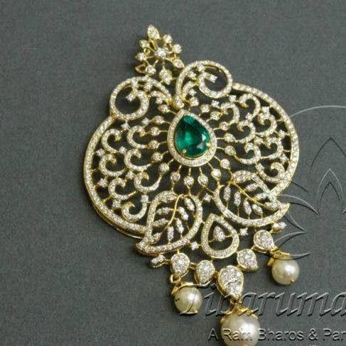 Tibarumal Chandbali and Diamond Pendant