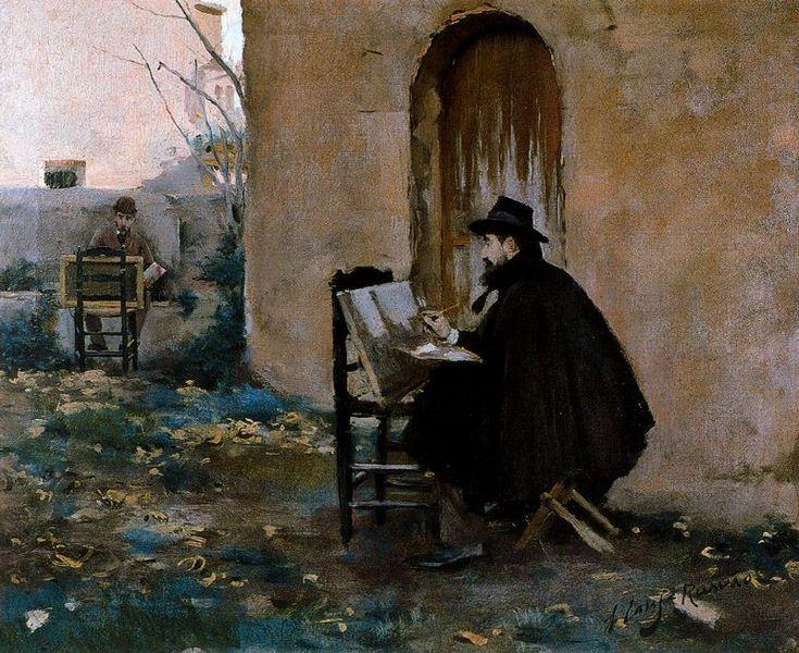 Santiago Rusiñol y Ramón Casas retratándose, 1890  - Ramon Casas i Carbo (Catalan painter, 1866-1932)