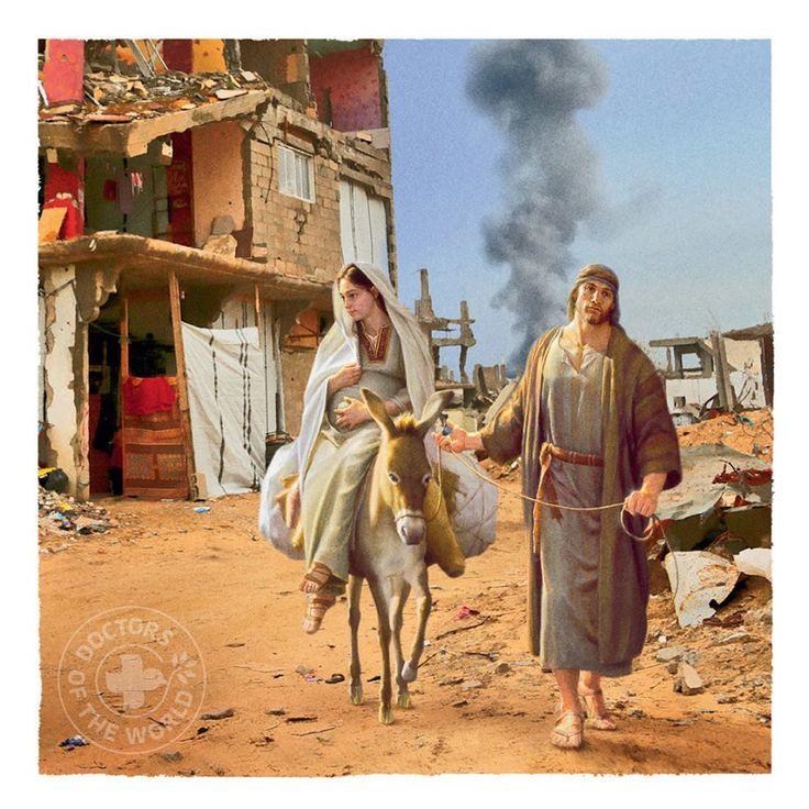 «Во время рождественских праздников, мы призываем вас вспомнить о нынешней действительности на Ближнем Востоке, - обращены к читателю строки на обратной стороне карточки. – Деньги, полученные от продажи этой карточки, пойдут на помощь людям, бежавшим от ужасов войны из своих домов»