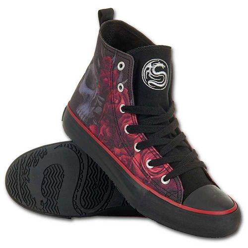 Blood Rose, gothic fantasy metal rozen dames sneakers gympen zwart/rood