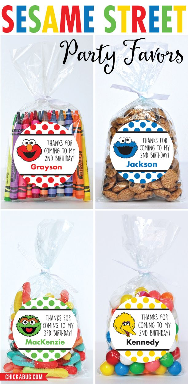 Sesame Street Party Favors {Elmo, Oscar the Grouch, Cookie Monster & Big Bird}