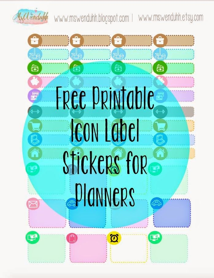Free Printable Stickers: Icon Labels for Planning