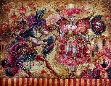 "Artist Elvira Baranova. Painting, ""Spirits of the Masquerade""."