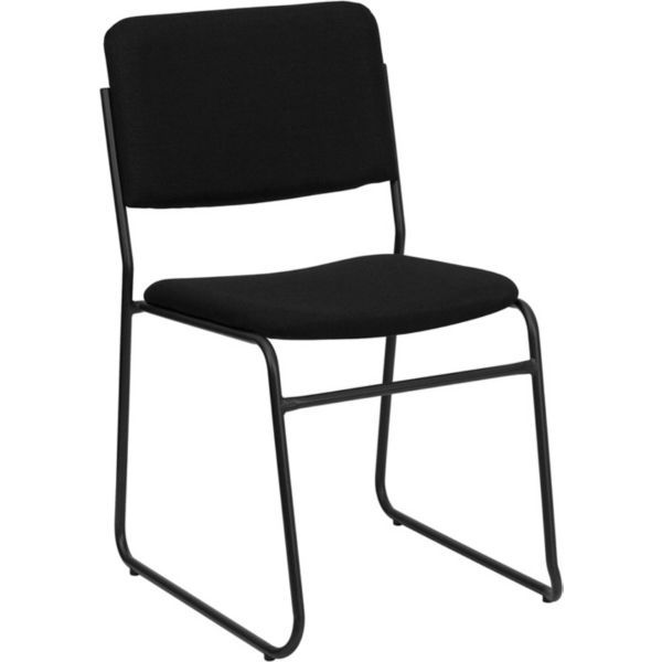 Capacity High Density Black Vinyl Stacking Chair With Sled Base. Overall: X  X Size: X X Thickness: Size: X Height From Floor: Arm Height From Seat:  Ottoman ...