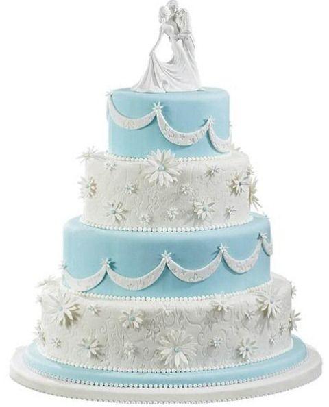 Açık mavi dört katlı düğün pasta modeli - Kadın Moda