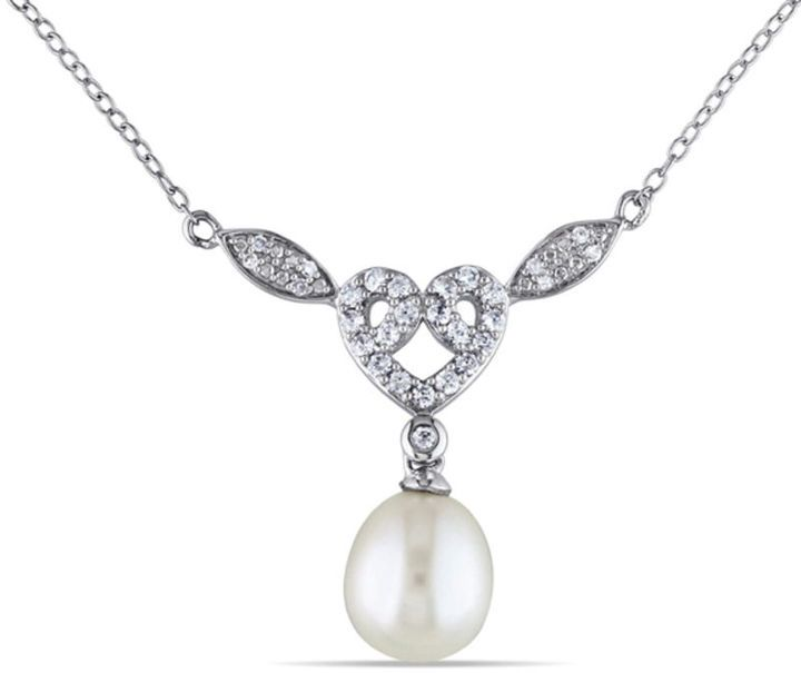 Zales 9.0 - 9.5mm Cultured Freshwater Pearl, Lab-Created White Sapphire and Diamond Accent Necklace in Sterling Silver