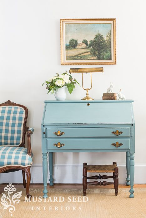 Swedish blue desk miss mustard seed furniture - Mustard seed interiors ...