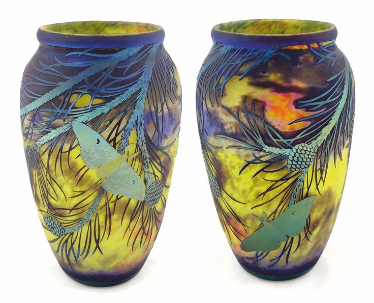 DESCRIPTION Muller Fres cameo vase bound by life size pine