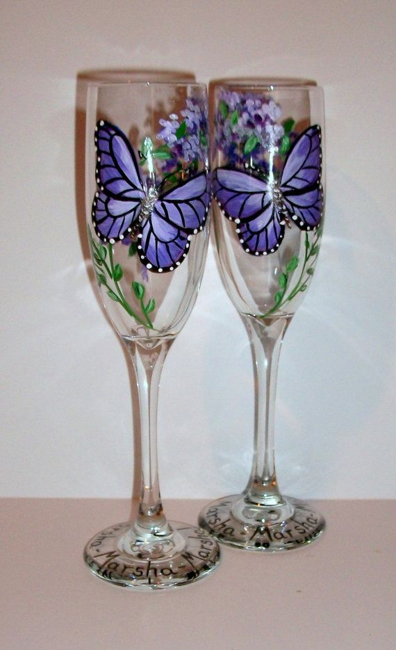 Purple Butterflies and Wisteria Hand Painted Champagne Flutes