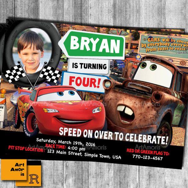 Cars Birthday Invitations, Cars Invitation, Lightening McQueen Invitation, Lightening McQueen Birthday Invitation, Cars Invites /R46 by ArtAmoris on Etsy