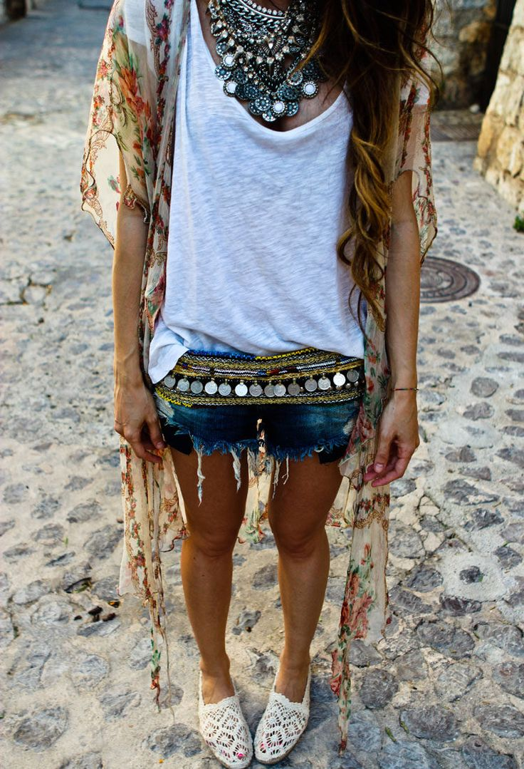 Silk maxi shrug, coin belt, distressed denim, basic white, crochet & ethnic statement piece.