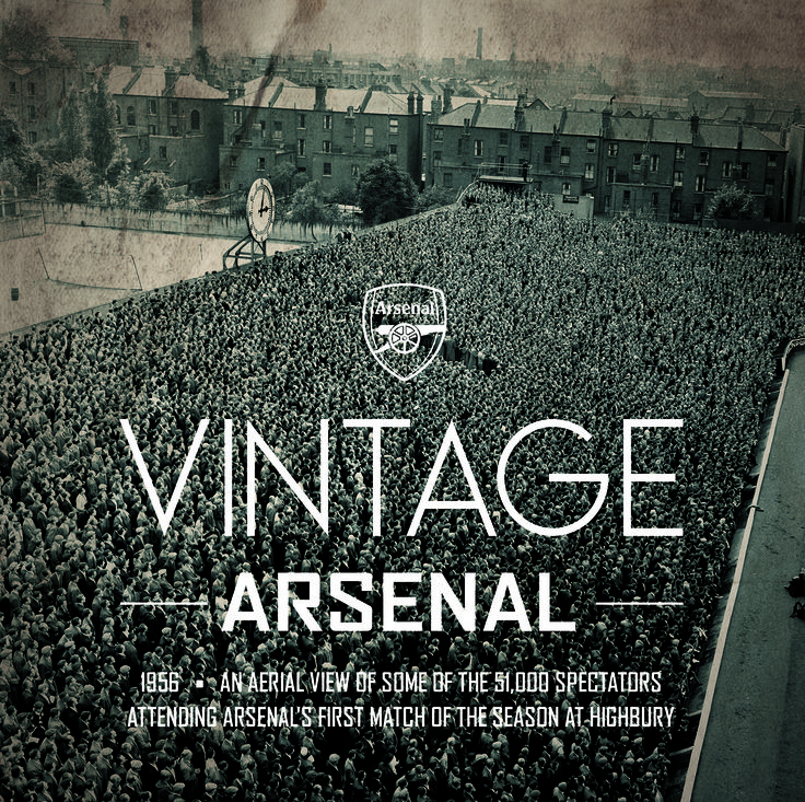 1956. An aerial view of some of the 51,000 spectators attending Arsenal's first match of the season at Highbury.