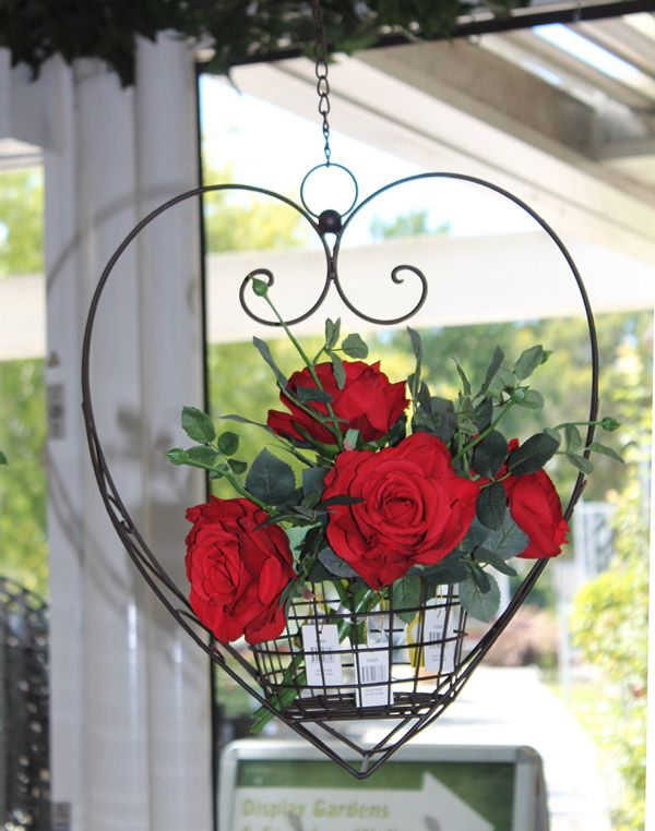 Heart Hanging Basket - with flowers