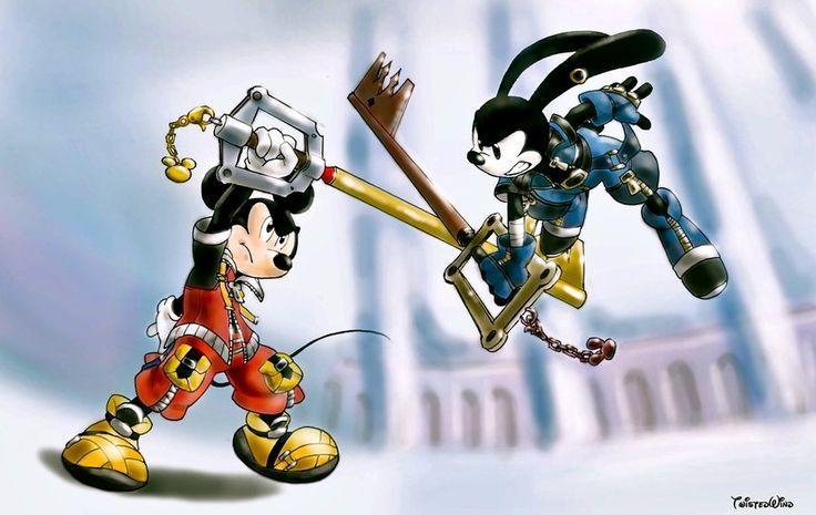 royal struggle   by twisted-wind @ DeviantART.com // #disney #crossover; kingdom hearts; mickey mouse; oswald the lucky rabbit