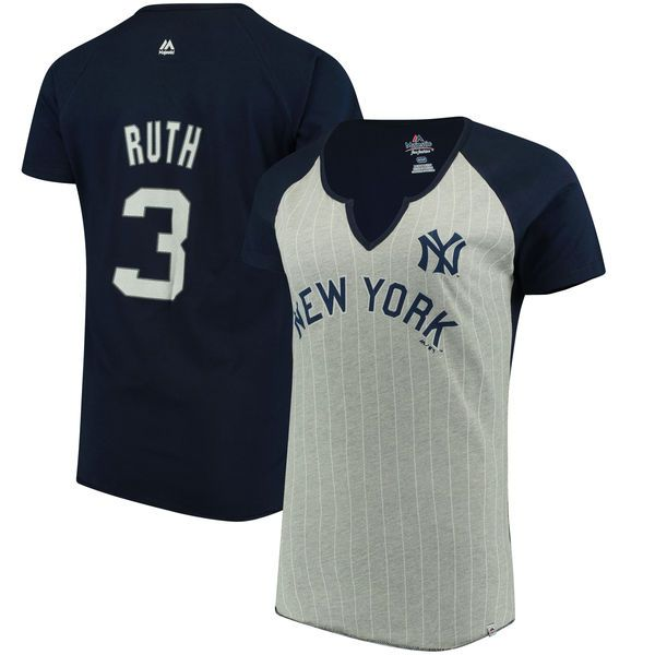 Women's New York Yankees Babe Ruth Majestic Gray Cooperstown Collection From the Stretch Name & Number T-Shirt 1