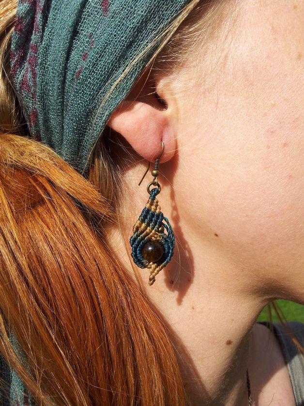 Ohrhänger - Makramee Ohrhänger Zuli Tigerauge - ein Designerstück von Lapiszulia bei DaWanda