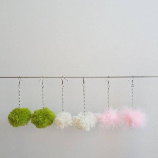 Pom Pom Earrings // Lime Green Wool Pom Pom, White Pom Pom, Pink Fluffy