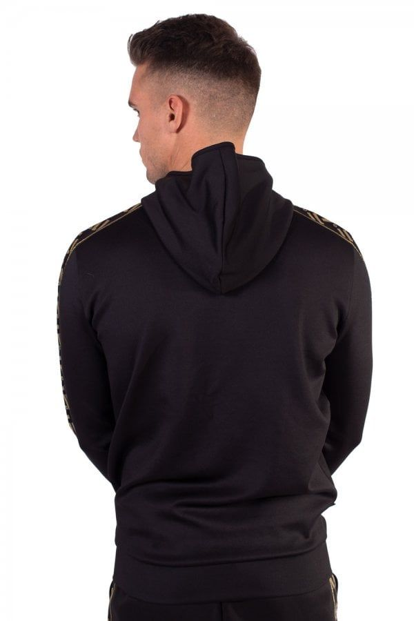 Sport Luxe Poly Track Top With Hood Black Gold Sports Luxe Hood Black Gold