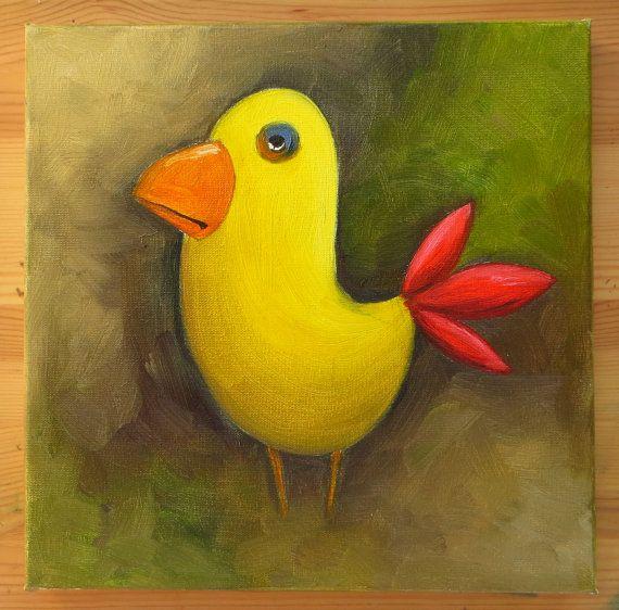 Yellow Bird, Original Art, Animals, Oil on canvas, MikiMayo