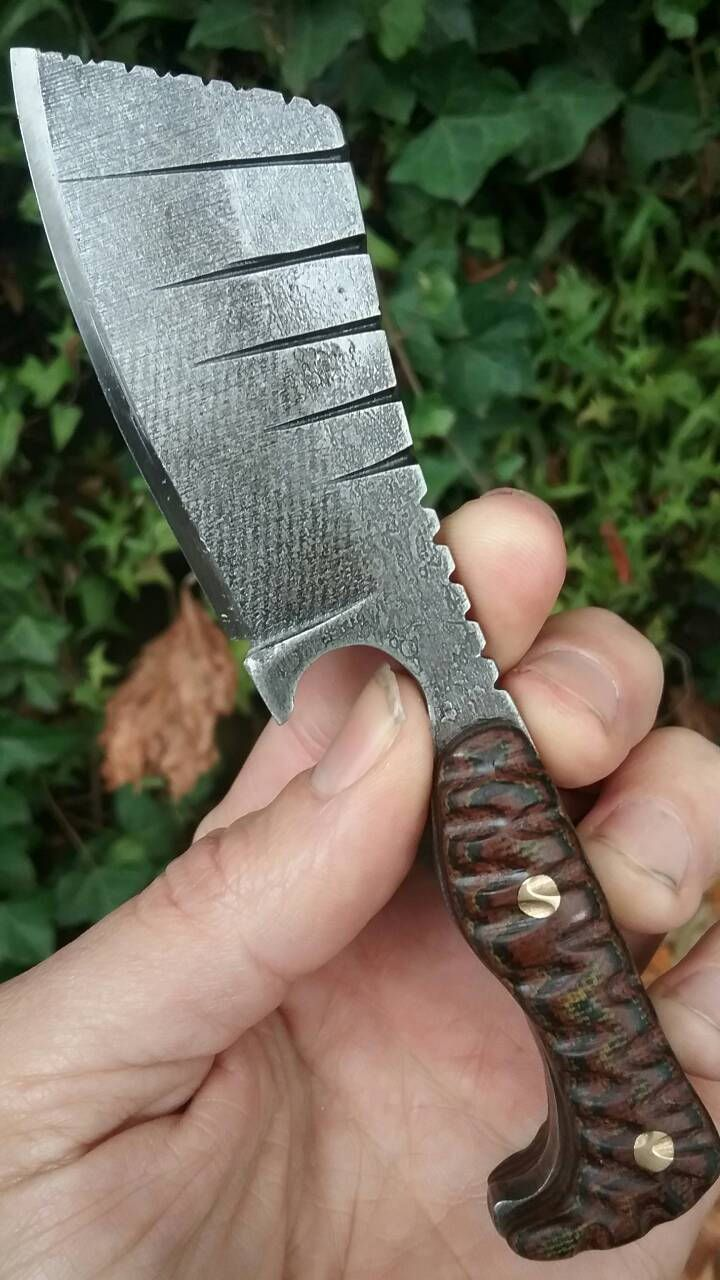Custom Hand Made Belt Knife, O-1 Tool Steel, Acid Etched, Stone Washed, Canvas Micarta Scales, File Work, Kydex Sheath, Brass Pins. by NightTurtleKnives on Etsy
