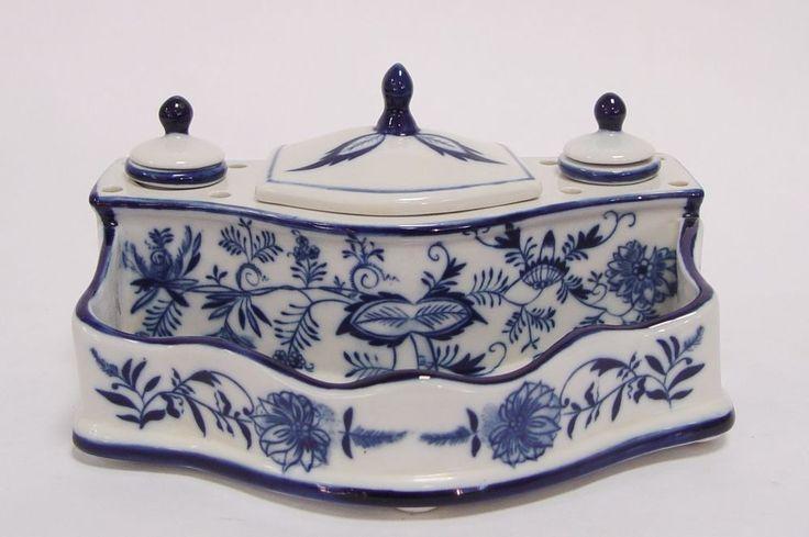 Porzellan Tintenfass Schreibtischgarnitur Schreibset Zwiebelmuster Antik Stil